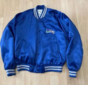 Vintage Seattle Seahawks Jacket Chalk Line Satin Large Made in USA