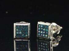 Masculino/Feminino Ouro Branco 10K 1/10 Ct. Azul Brincos de diamante Brincos Square Tachas