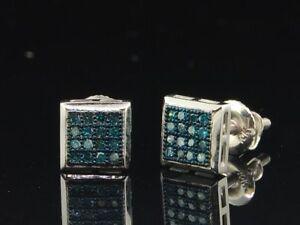 Mens/Ladies 10K White Gold 1/10 ct. Blue Diamond Earrings Square Studs Earrings
