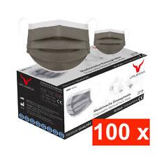 100 Graue Medizinische OP Maske Typ IIR 2R Mundschutz 3-lagig Einweg Masken Grau
