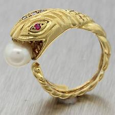 Vintage Ilias Lalaounis 18K Yellow Gold Diamond Pearl Ruby Snake Serpent Ring