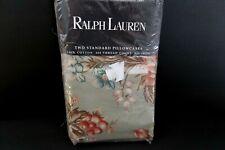 2 Ralph Lauren Charlotte Green Floral Pillowcases Standard