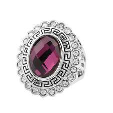 Vintage Style Silver Dark Grape Purple Rhinestone Medium size O 17 mm Ring FR267