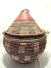 "VINTAGE LARGE WOVEN SNAKE CHARMER BASKET W/ LEATHER LID 17""W x 22""T"