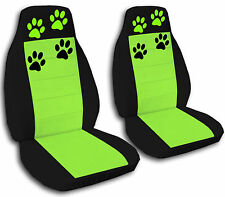 2 Front Universal Black and Lime Green Paw Print Seat Covers