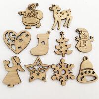 50x Christmas Wooden Pendant Hanging Ornament Xmas Tree Festive Decoration Gift