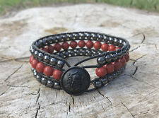 Men's Unisex Jasper Gemstone Gunmetal Beaded Leather Wrap Cuff Bracelet