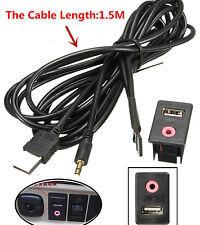 Car 3.5mm USB AUX Headphone Male Jack Flush Mount Adapter Panel Input 1.5M Cable