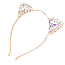 Girls Metal Rhinestone Cat Ear Headband Hair band Costume Party Cosplay Golded