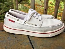 ROCKPORT Perth White Silver Loafers Casual Venetian Boat Deck Men Shoes Sz 10.5