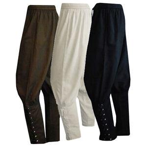 Men Renaissance Medieval Pirate Navigator Loose Pants Trousers Cosplay Costume