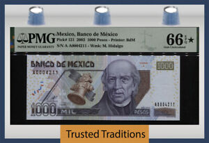 TT PK 121 2002 MEXICO 1000 PESOS M. HIDALGO PMG 66 EPQ CHOICE UNCIRCULATED