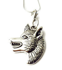 SILVER WOLF HEAD  PENDANT& CHAIN WITH LOBSTER CLIP-ON CHARM-TIBETIAN SILVER -NEW