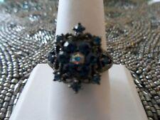 Park Lane Hostess Only RING - Hematite with Blue Swarovski - SZ 9 - Sparkling!!