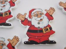 "5 Large Santa Buttons 35mm (1 1/4"") Father Christmas Wood Buttons Xmas Crafts"