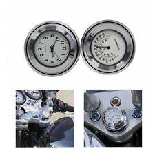7/8'' 1'' Motorcycle Bike Whtie Dial Clock & Thermometer Handlebar Mount Temp