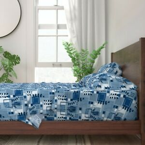 Sea Classic Blue Color Year Squares 100% Cotton Sateen Sheet Set by Spoonflower