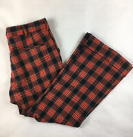 Vintage 60's 70's H.I.S Red Plaid Bell Bottom Pants Men's 36x30