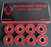 ABEC 7 ABEC 9 SWISS Skate Bearings, Skateboard Longboard Scooter Roller 2/4/8-PK