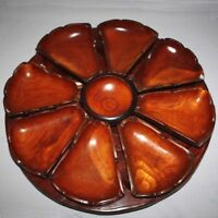 Vintage 70's HAITIAN Hand Carved Double-Sided Wood LAZY SUSAN Haiti Ordeuvres