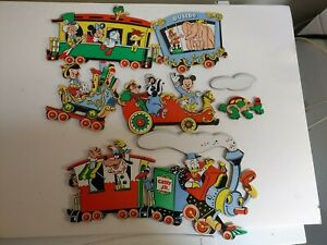 Vintage Disney Train Wall Plaque - Mickey/Minnie Mouse, Donald Duck, Pinocchio
