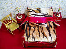 Dollhouse Bedding Set - 1:12 Scale - ANIMAL PRINT - REVERSIBLE