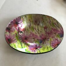 """Vintage Style Glass Oval Bowl """"Summer Meadow"""""""