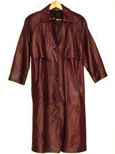Reed VTG 3/4 sleeve lined full length burgundy soft leather coat / women M / b13