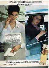 """Publicité Advertising 1977 Eau de Toilette """"Quartz"""" par Molyneux"""
