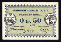Senegal 50 Centimes 0.5 Franc P-1c 1917 L-29  aUNC
