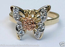 14k Yellow & Rose Gold Butterfly Cz Cubiz Zirconia Ring Band Right Hand Fashion