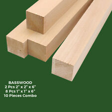 10 Pcs American Basswood Carving/Whittling Wood Blocks, Turning Blanks Combo Kit