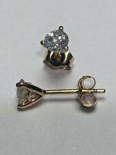 Diamond Martini Stud Earrings Genuine Certified Half carat .50 14K Yellow Gold I