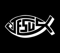 Jesus Fish Diecut Vinyl Decal Sticker Car Window Wall Truck Christian Cross