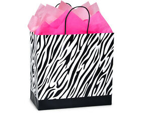 5 Large Gift Bags & 15 Pink Tissue Set Zebra Graduations Holiday Retail Gifts