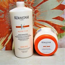 --DUO-- KERASTASE NUTRITIVE BAIN & MASQUE MAGISTRAL 34oz/ 1000ml -- 500ml/16.9oz
