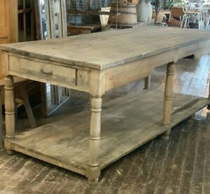 Large 19th Century Antique French Atelier Work Table Island Paris France