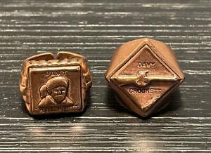 Davy Crockett Vintage Cracker Jack Toy Rings Lot Of 2