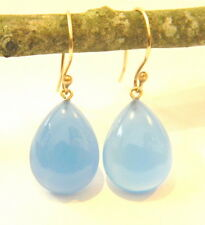 14k solid yellow gold earrings handmade jewelry chalcedony stone
