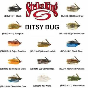 Strike King Bitsy Bug Mini Finesse Jigs, Choice of Size and Colors