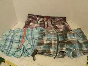 Unionbay Lightweight Plaid Shortie Shorts SZ 9  LOT OF 3 PAIR   VGC