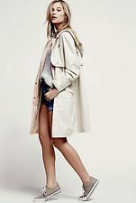 NEW Free People tan pink Checked Trim Oversized Hooded Windbreaker Parka Coat M