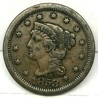 1853 Penny Braided Hair Large Cent - Original- Nice Coin.