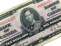 1937 Canada 10 Ten Dollar Prefix JT Canadian Circulated Banknote L926