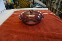 Corning Vision Ware Cranberry Glass V-31-B 1 L Qt Ribbed Round Casserole w Lid