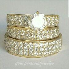 2.80 carat Round Trio 3 Piece 10K yellow Gold Engagement Wedding Band Ring Set