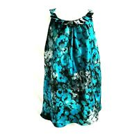 New York & Co Women's Sleeveless Top Size 4 Teal Black Pleated Neckline Pullover