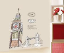 LONDON BRIDGE UK BRITISH BIG BEN CLOCK TOWER REMOVABLE WALL STICKER VINYL DECAL