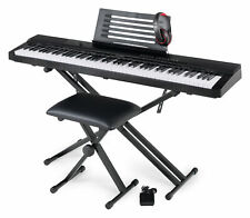 88 Keys Keyboard Piano USB Stagepiano Look Beginner Set Stand Bench Headphone