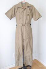Vgc Vtg 70s Para-Suit Khaki Polycotton Coveralls Buckle Jumpsuit Logo Patch 42